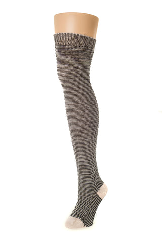 Delp Stockings, Horizontal Ribbed / Banded Stockings. Black and White color side view.