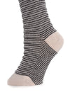 Delp Stockings, Horizontal Ribbed / Banded Stockings. Black and White color side detail view.