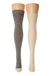 Delp Stockings, Horizontal Ribbed / Banded Stockings. Black and White color plus Cream color side by side front view.