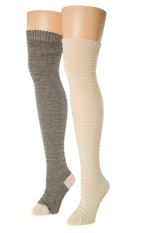 Delp Stockings, Horizontal Ribbed / Banded Stockings. Black and White color plus Cream color side by side view.