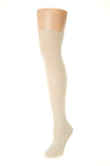 Delp Stockings, Horizontal Ribbed / Banded Stockings. Cream color side view.