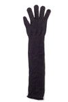 Delp Stockings Extra Long Ladies Silk Gloves. Soft Black color flat view.