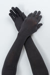 Delp Stockings Extra Long Ladies Silk Gloves. Soft Black color view on model.
