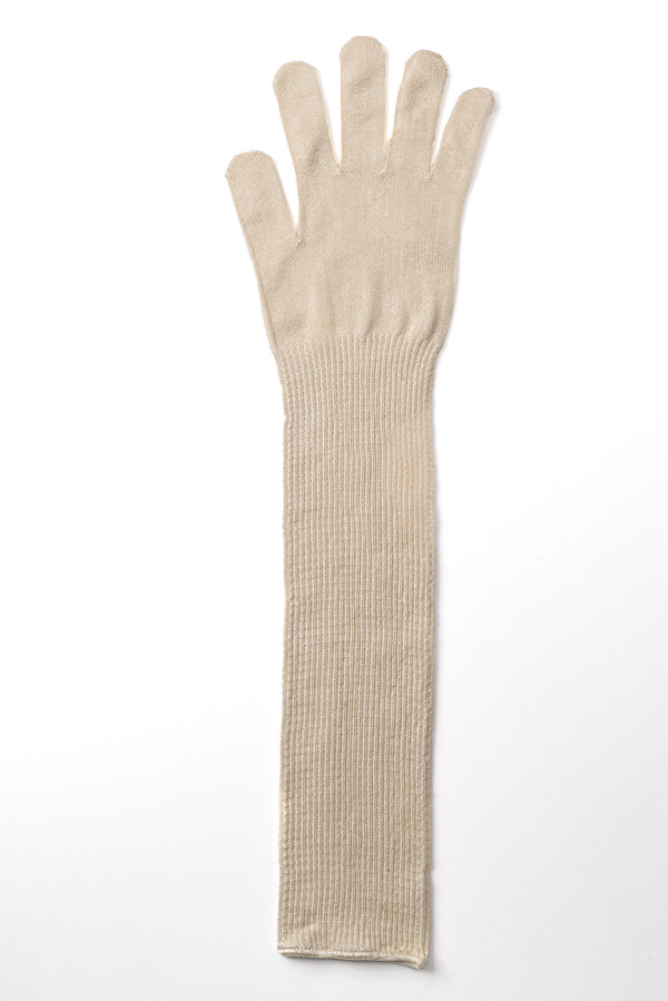 Delp Stockings Extra Long Ladies Silk Gloves. Cream color flat view.
