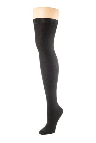 Delp Stockings, Lightweight Cotton Stockings. Black color side view.