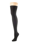 Delp Stockings, Seamed Lightweight Cotton Stockings. Black color side view.