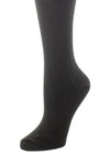 Delp Stockings, Seamed Lightweight Cotton Stockings. Black color side detail view.