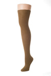 Delp Stockings, Seamed Lightweight Cotton Stockings. Camel color side view.