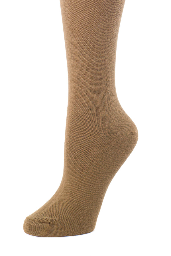 Delp Stockings, Seamed Lightweight Cotton Stockings. Camel color side detail view.