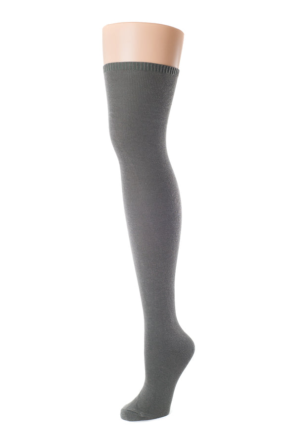 Delp Stockings, Seamed Lightweight Cotton Stockings. Charcoal color side view.