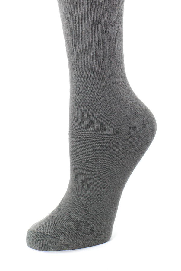 Delp Stockings, Seamed Lightweight Cotton Stockings. Charcoal color side detail view.