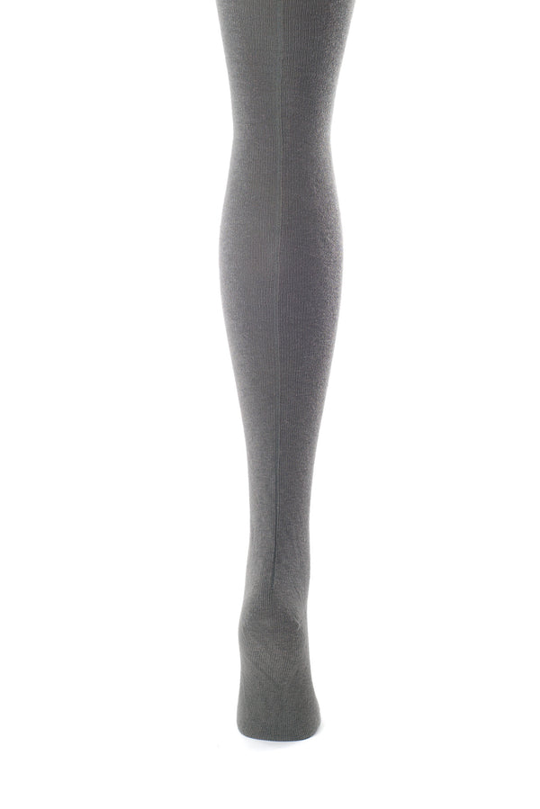 Delp Stockings, Seamed Lightweight Cotton Stockings. Charcoal color back view.