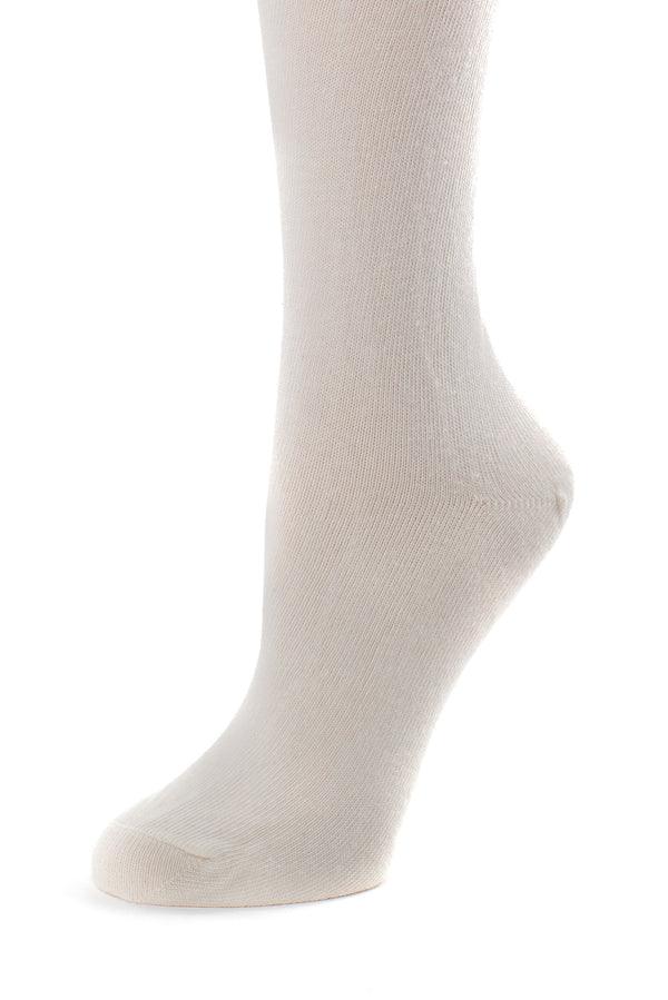 Delp Stockings, Seamed Lightweight Cotton Stockings. Cream color side detail view.