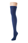Delp Stockings, Seamed Lightweight Cotton Stockings. Dark Blue color side view.