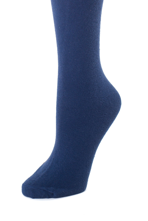 Delp Stockings, Seamed Lightweight Cotton Stockings. Dark Blue color side detail view.