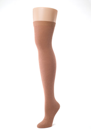 Delp Stockings, Seamed Lightweight Cotton Stockings. Salmon color side view.