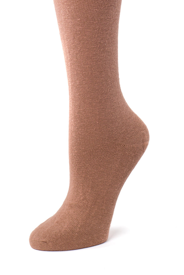 Delp Stockings, Seamed Lightweight Cotton Stockings. Salmon color side detail view.