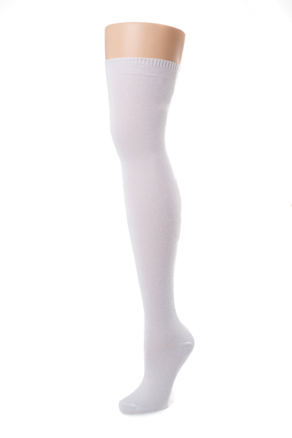 Delp Stockings, Seamed Lightweight Cotton Stockings. White color side view.