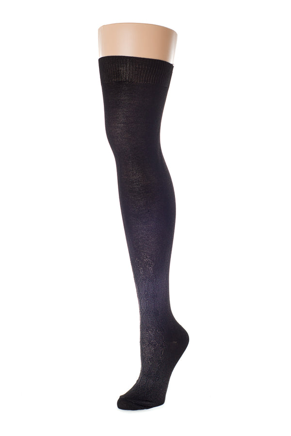 Delp Stockings, Seamed Openwork Silk Stockings. Black color side view.