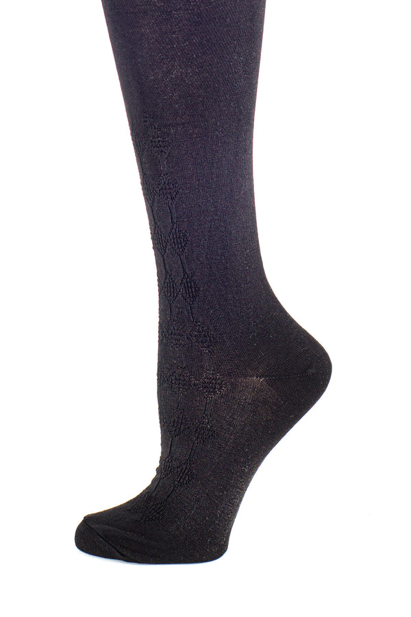 Delp Stockings, Seamed Openwork Silk Stockings. Black color side detail view.