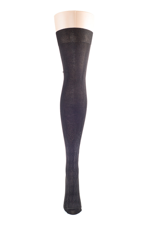 Delp Stockings, Seamed Openwork Silk Stockings. Black color front view.