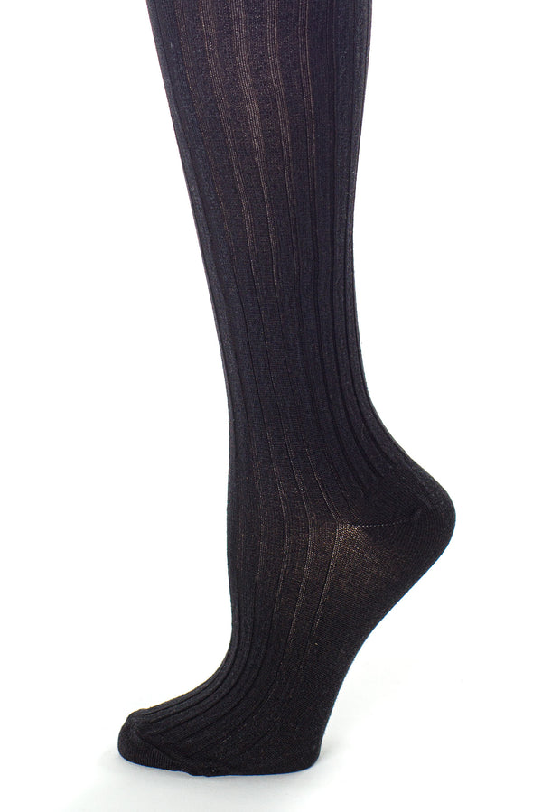 Delp Stockings, Ribbed Silk Stockings. Black color side detail view.