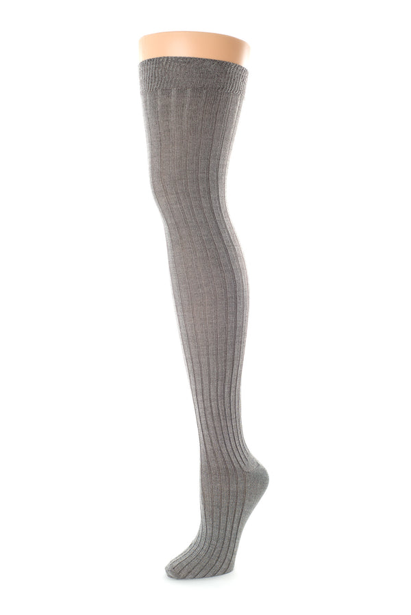 Delp Stockings, Ribbed Silk Stockings. Charcoal color side view.