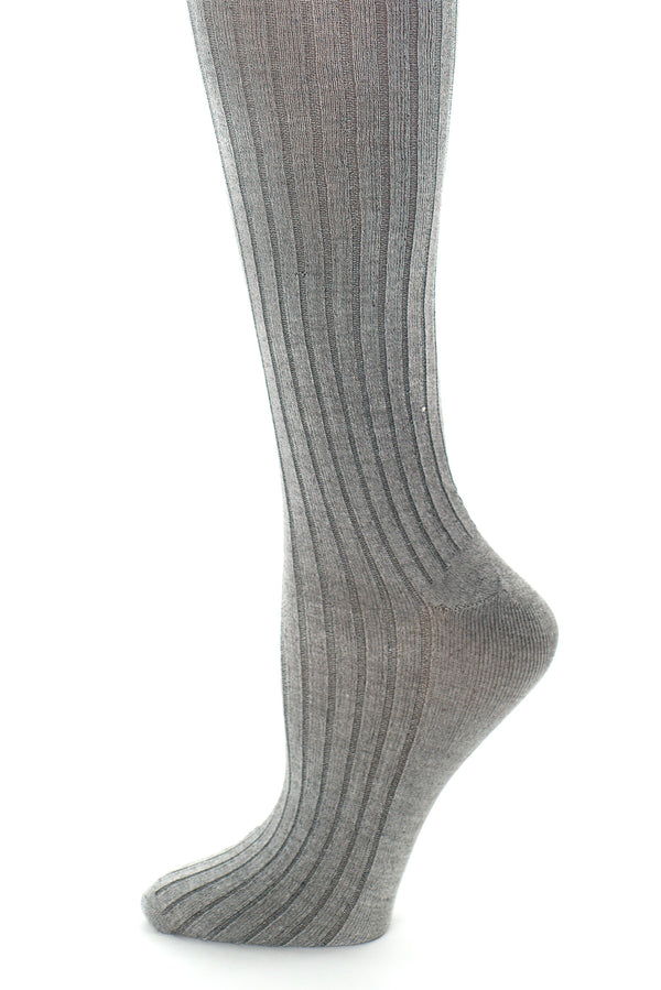 Delp Stockings, Ribbed Silk Stockings. Charcoal color side detail view.