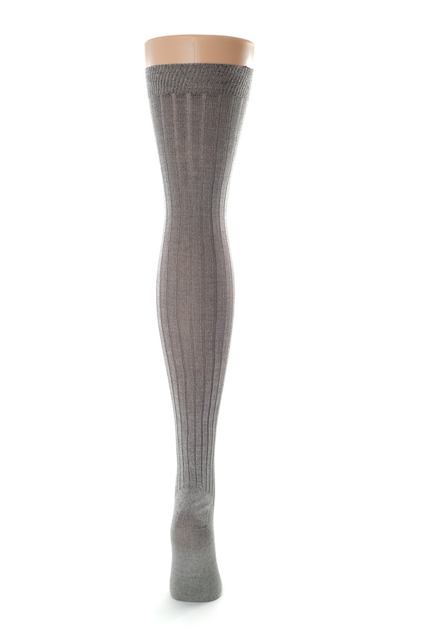 Delp Stockings, Ribbed Silk Stockings. Charcoal color back view.