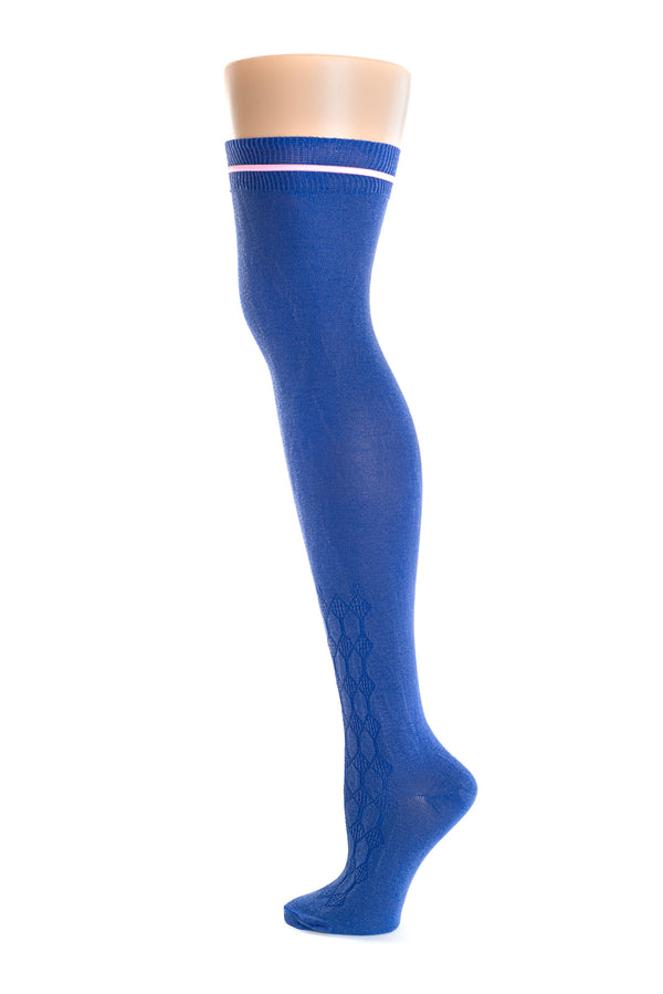 Delp Stockings, Roll Garters on Royal Blue Openwork stocking. Side view, showing pink garter before being rolled.