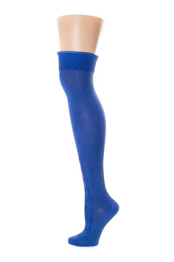 Delp Stockings, Roll Garters on Royal Blue Openwork stocking. Side view, showing pink garter being rolled into stocking.
