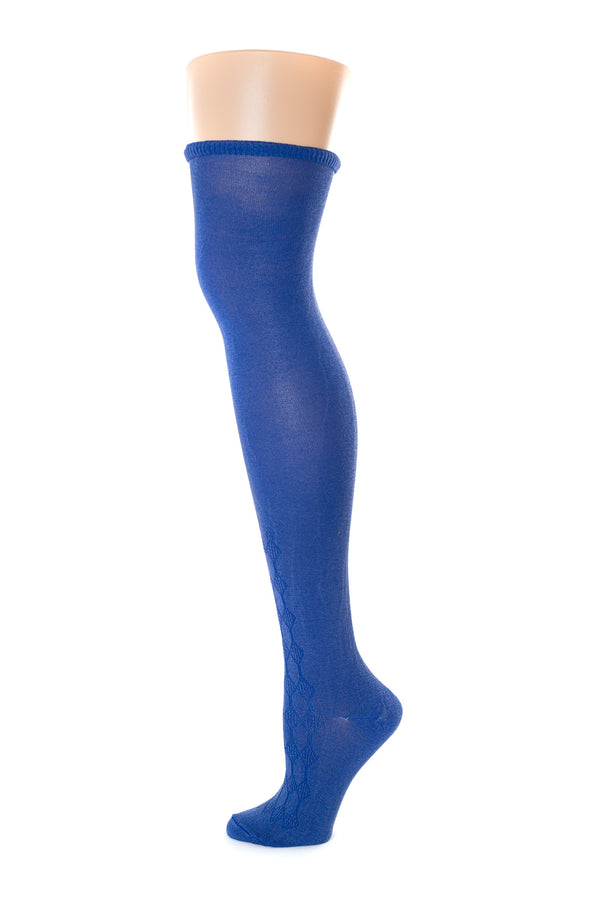 Delp Stockings, Roll Garters on Royal Blue Openwork stocking. Side view, showing pink garter being rolled again into stocking.
