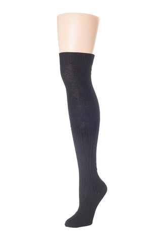 Delp Stockings, Seamed Openwork Cotton Stockings. Black color side view.