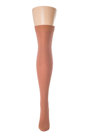 Delp Stockings, Seamed Openwork Cotton Stockings. Salmon color side view.