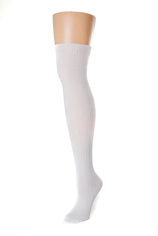 Delp Stockings, Seamed Openwork Cotton Stockings. White color side view.