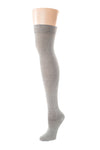Delp Stockings, Silk Stockings. Charcoal color side view.