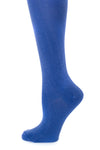 Delp Stockings, Silk Stockings. Royal Blue color side detail view.