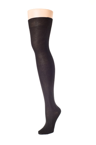 Delp Stockings, Silk SALE Stockings, Plain, Clocked, and Openwork. Black color side by side view of the front of the three styles.