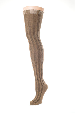 Delp Stockings, Vertical Ribbed Cotton Stockings. Black and Tan color side view.