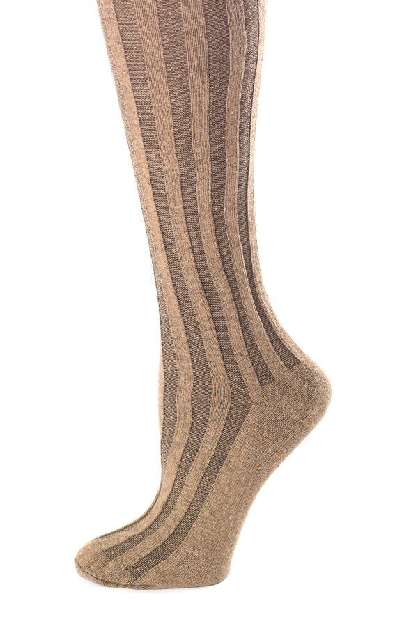 Delp Stockings, Vertical Ribbed Cotton Stockings. Black and Tan color side detail view.