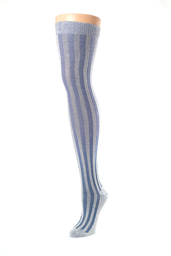 Delp Stockings, Vertical Ribbed Cotton Stockings. Blue and Cream color side view.