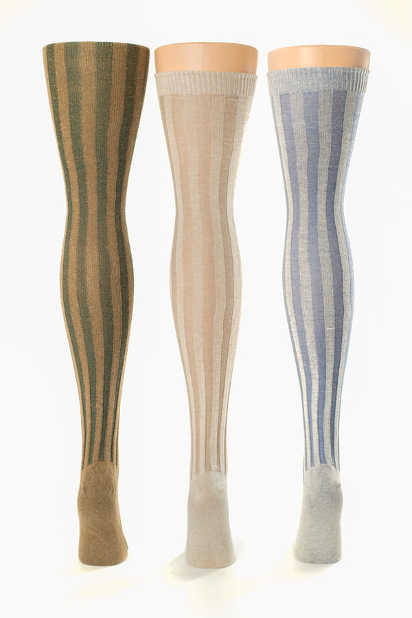Delp Stockings, Vertical Ribbed Cotton Stockings. Green and Tan, Tan and Cream, Blue and Cream colors, side by side view of back of stockings.