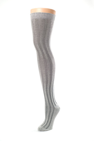 Delp Stockings, Vertical Ribbed Cotton Stockings. Gray and Cream color side view.