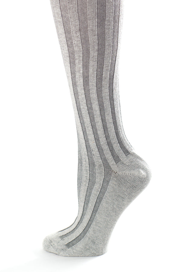 Delp Stockings, Vertical Ribbed Cotton Stockings. Gray and Cream color side detail view.