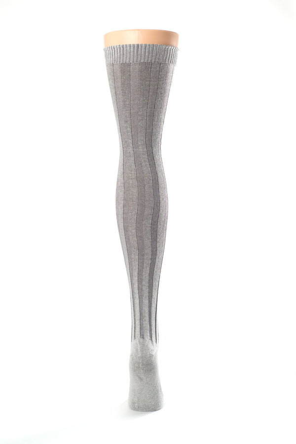 Delp Stockings, Vertical Ribbed Cotton Stockings. Gray and Cream color back view.