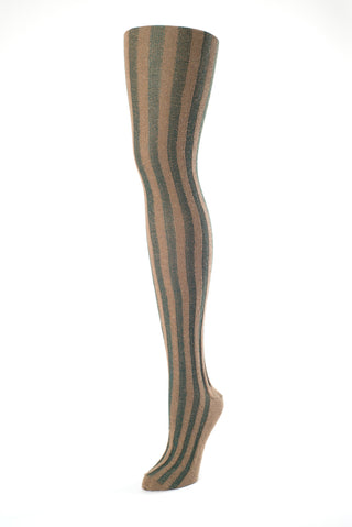 Delp Stockings, Vertical Ribbed Cotton Stockings. Green and Tan color side view.