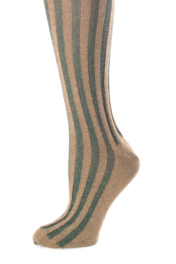Delp Stockings, Vertical Ribbed Cotton Stockings. Green and Tan color side detail view.