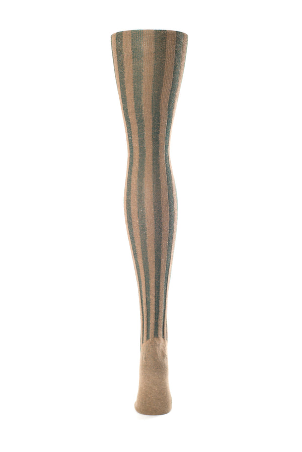 Delp Stockings, Vertical Ribbed Cotton Stockings. Green and Tan color back view.