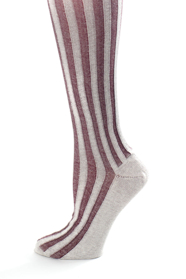 Delp Stockings, Vertical Ribbed Cotton Stockings. Maroon and White color side detail  view.