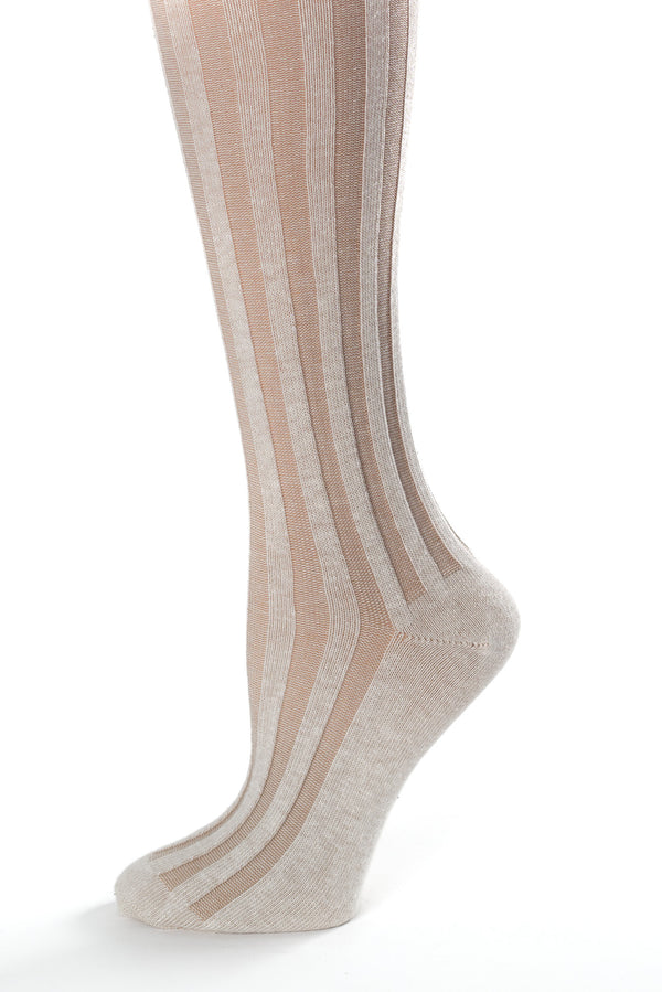 Delp Stockings, Vertical Ribbed Cotton Stockings. Tan and Cream color side detail view.